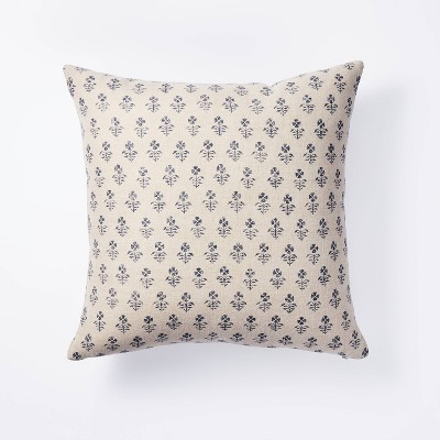 Square Floral Block Print Throw Pillow Neutral/Navy - Threshold™ designed with Studio McGee