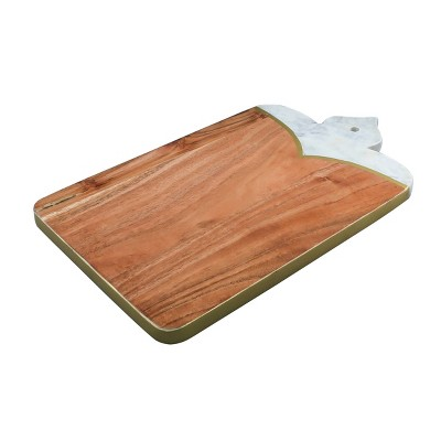 "13.5"" x 8"" Wood and Marble Gold Detail Cutting Board - Thirstystone"