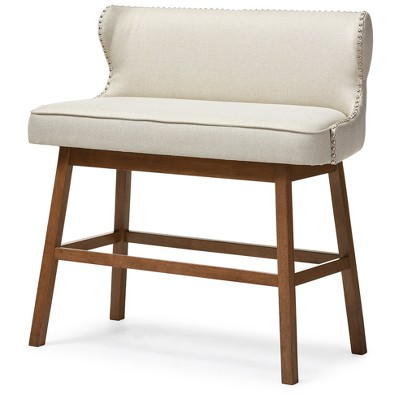 Gradisca Modern And Contemporary Fabric Button Tufted Upholstered Bar Bench Banquette - Baxton Studio