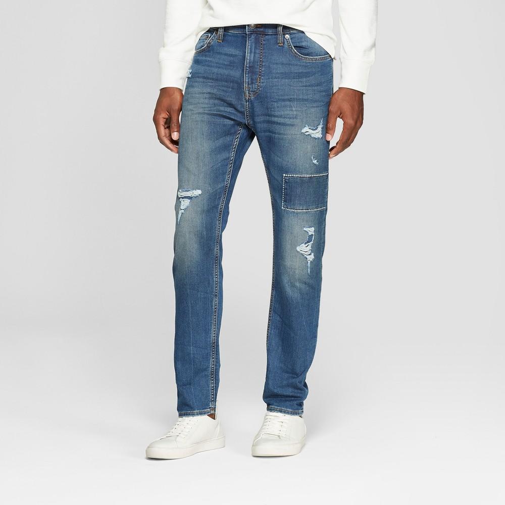Men's Taper Fit Medium Patched with Destruction Jeans - Goodfellow & Co Vintage Indigo 42x30, Blue