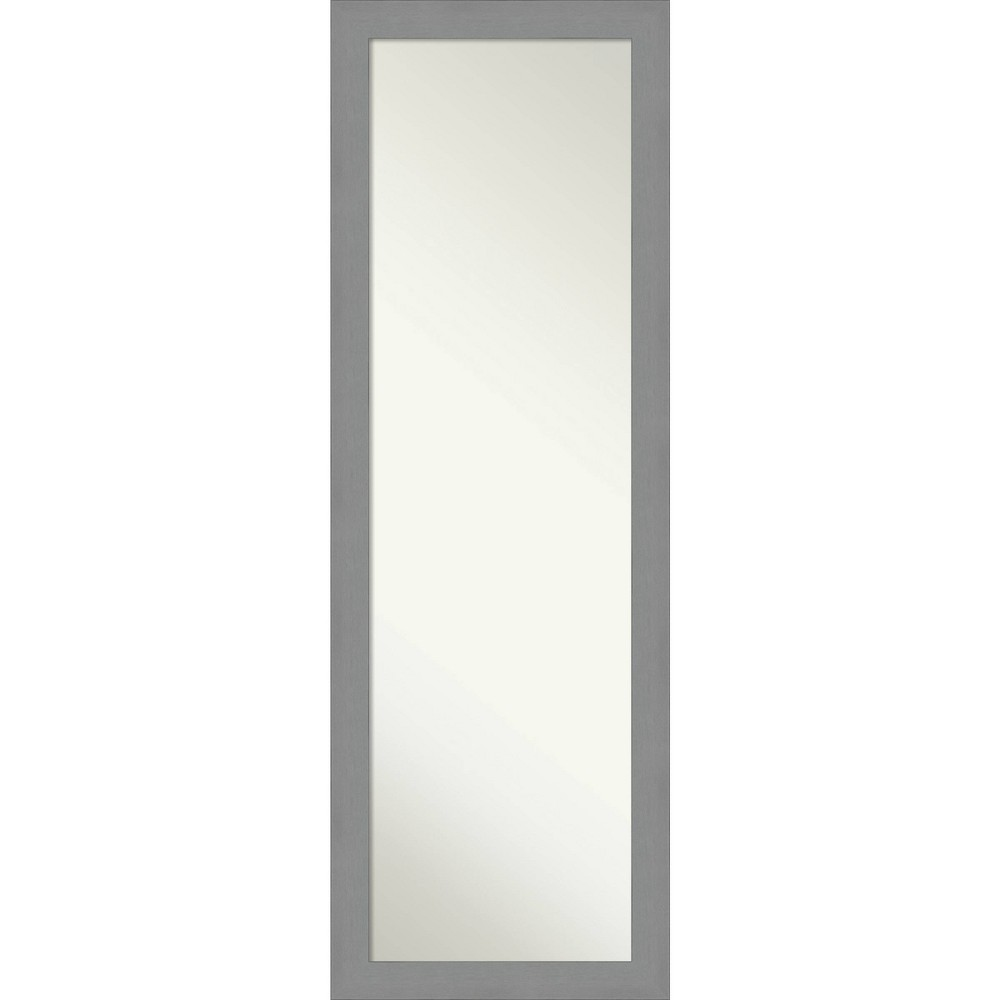 "Image of ""18"""" X 52"""" Framed On The Door Full length Mirror Brushed Nickel - Amanti Art, Size: 18"""" X 52"""", Silver"""