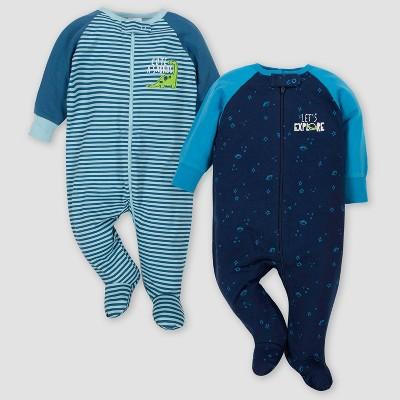 Gerber Baby Boys' 2pk Let's Explore & Dino Sleep 'N Play - Blue Newborn