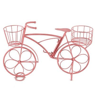 Lakeside Vintage Metal Bike Double-Planter Stand with Distressed Finish