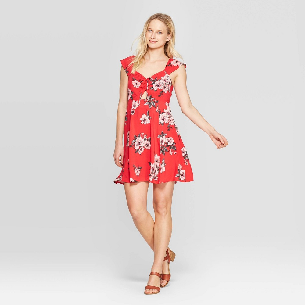 373ac8e16e Womens Floral Print Cap Sleeve Sweetheart Neck Strappy Front Tie Midi Dress  Xhilaration Rocket Red XS