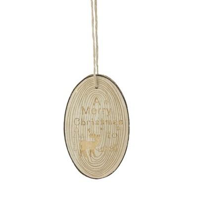 """Kurt S. Adler 6"""" Rustic Woodland Tree Slice Moose Christmas Ornament - Ivory"""