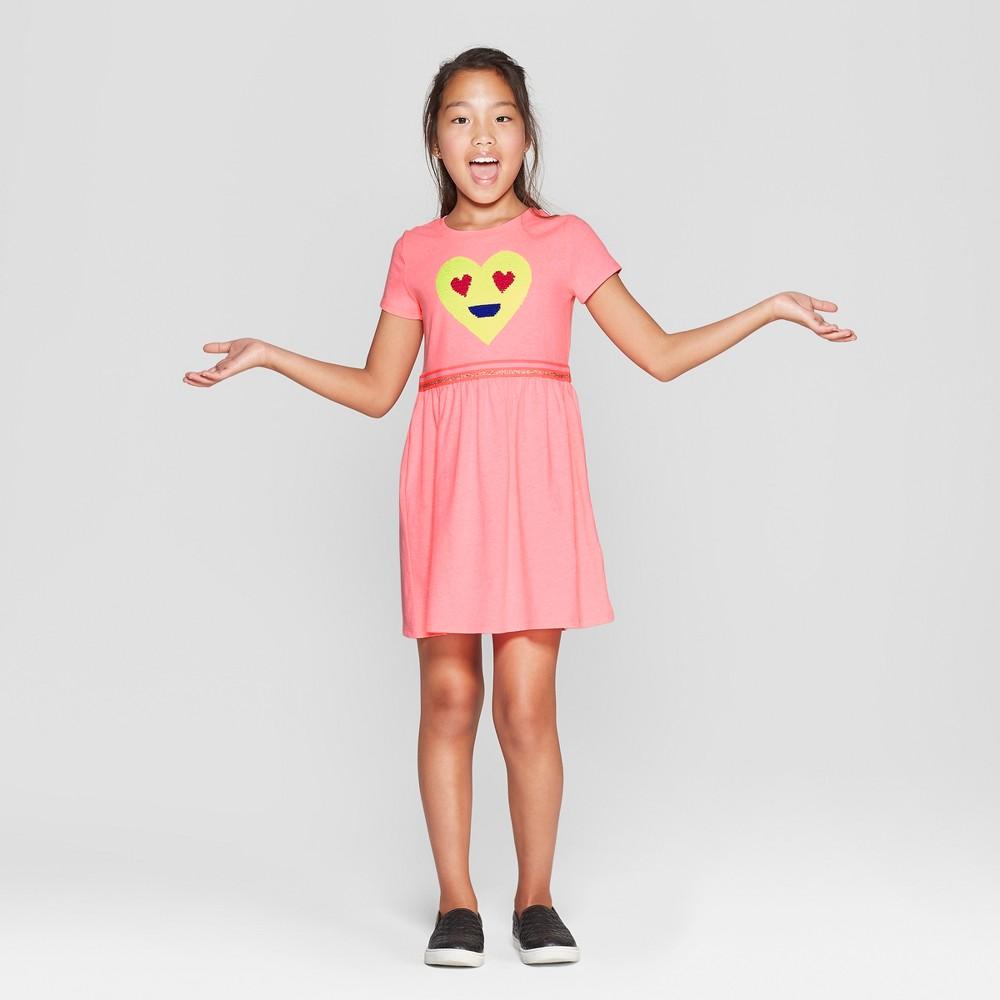 Girls' Flip Sequin Emoji Valentine's Day Dress - Cat & Jack Pink M