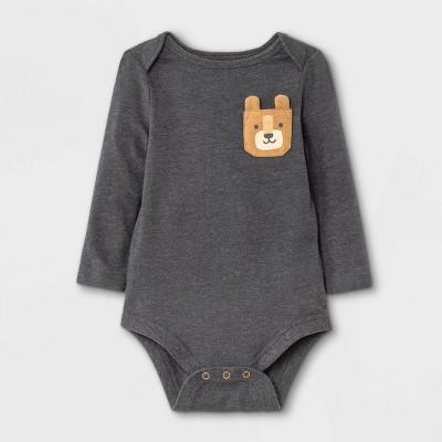 Baby Boys' Animal Long Sleeve Bodysuit with Pocket - Cat & Jack™ Charcoal Gray Newborn