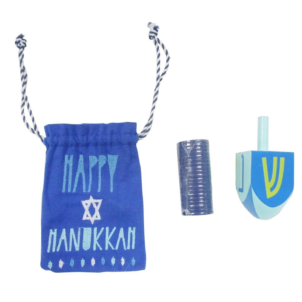 Hanukkah Wood Dreidel and Plastic Gelt Set, Multi-Colored