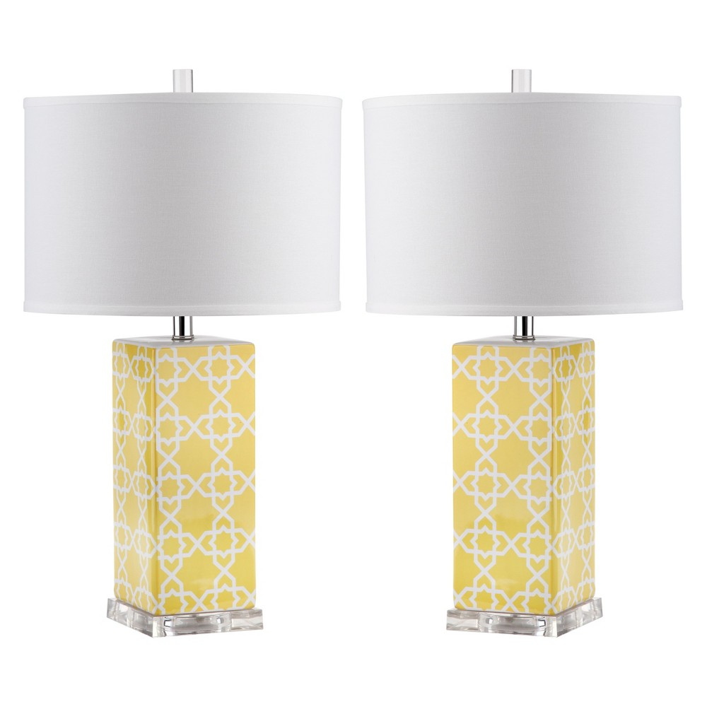 Quatrefoil Table Lamp - Yellow (Set of 2) - Safavieh, Yellow/Black