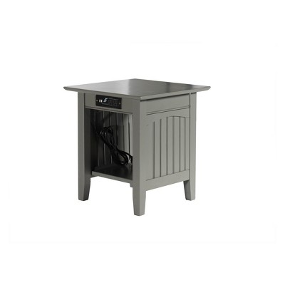 Atlantic Furniture Nantucket End Table with Charger Gray