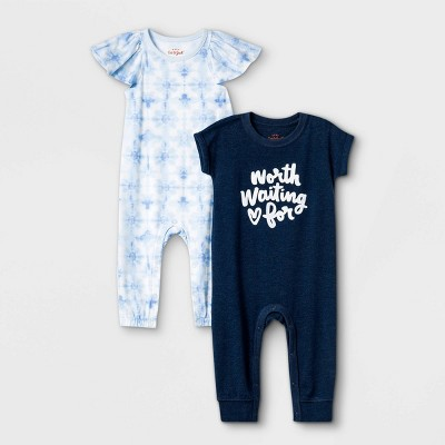 Baby Girls' 2pk Tie-Dye Romper - Cat & Jack™ Navy 3-6M