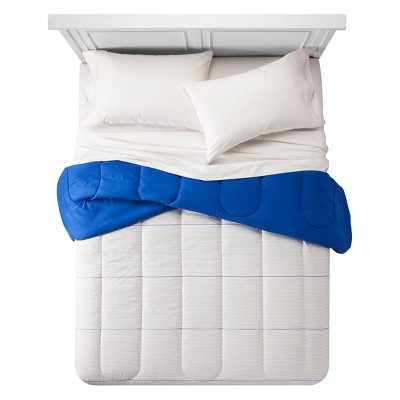 Pencil Stripe Comforter (Full/Queen)Sleek Gray & Glorious Blue - Room Essentials™