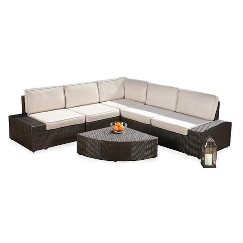 San Vicente 6pc Cast Aluminum Patio Sofa Set With Sunbrella Cushions Brown Christopher Knight Home