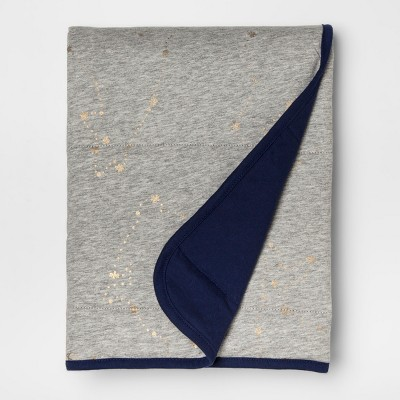 Jersey Knit Baby Blanket Solid - Cloud Island™ Gray/Navy