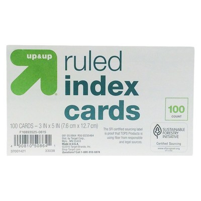 Index Cards Ruled 3  x 5  100ct White - Up&Up™