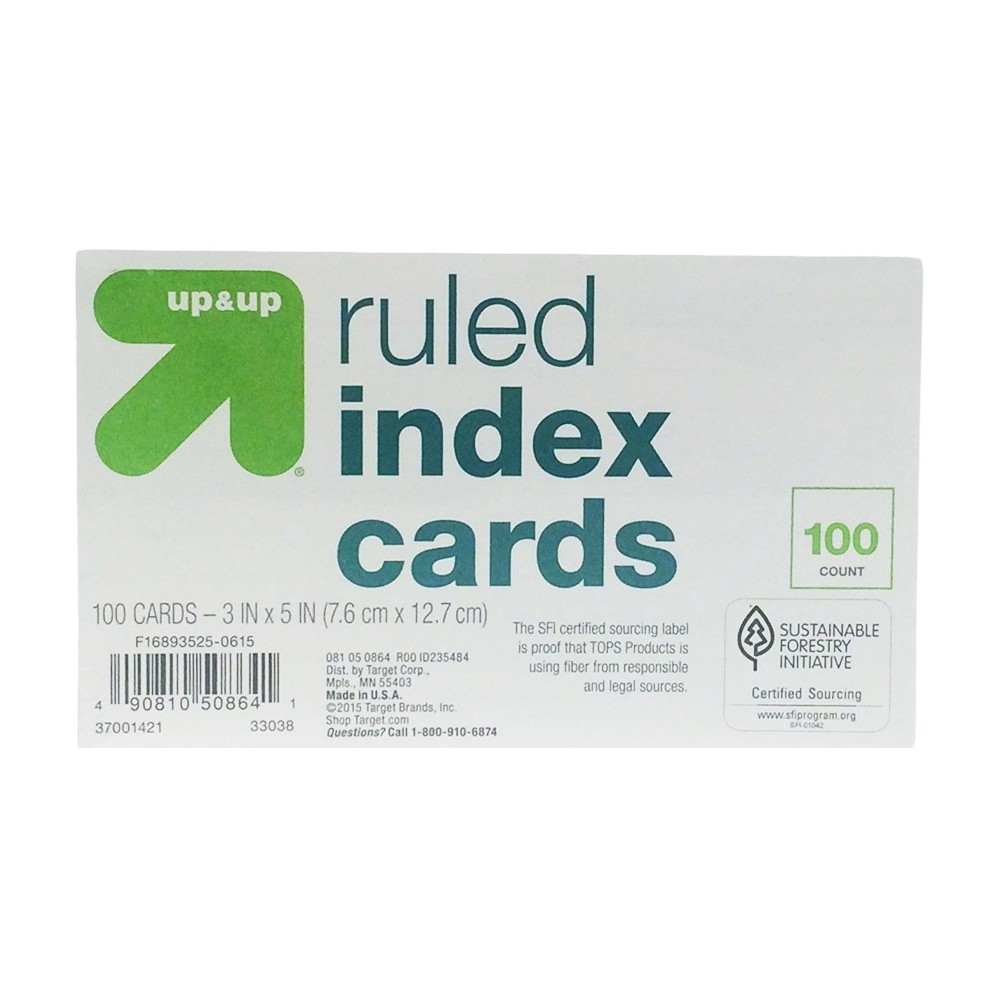 """Image of """"Index Cards Ruled 3"""""""" x 5"""""""" 100ct White - Up&Up"""""""