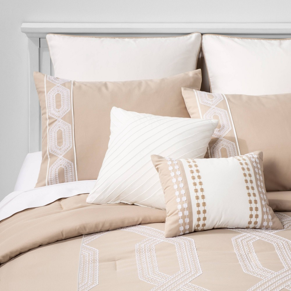 Image of Full Tiras Geometric Comforter Set Tan/Ivory - Hallmart Collectibles