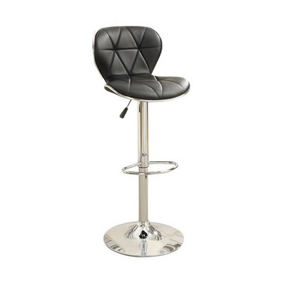 Set of 2 Leather Upholstered Barstool With Gas Lift Black/Silver - Benzara