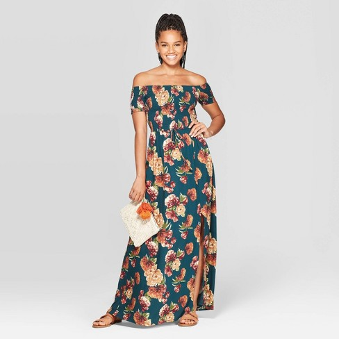 Women's Floral Print Short Sleeve Off the Shoulder Smocked Top Maxi Dress - Xhilaration™ Teal - image 1 of 2