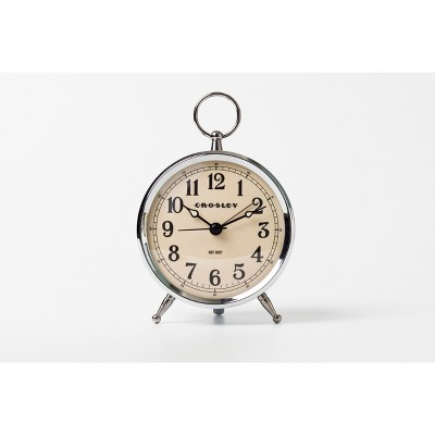 Antique Bronze Metal Analog Table Clock Silver - Crosley