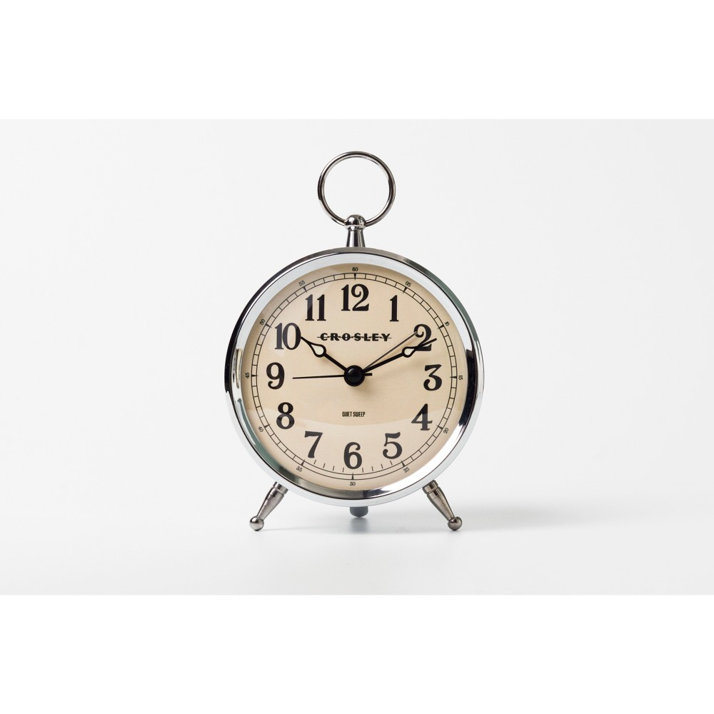Image of Antique Bronze Metal Analog Table Clock Silver - Crosley
