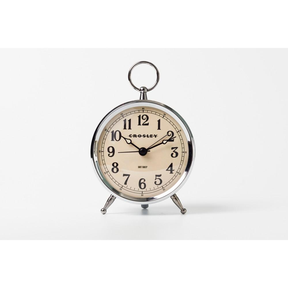 Image of Antique Bronze Metal Analog Table Clock Silver - Crosley
