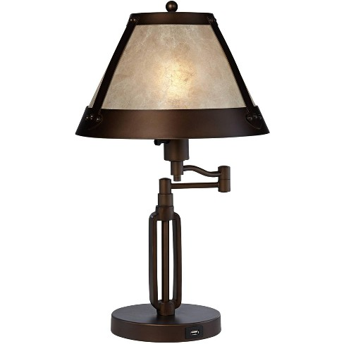 Franklin Iron Works Traditional Desk Table Lamp Swing Arm with Hotel Style USB Charging Port Bronze Natural Mica Shade for Bedroom Office - image 1 of 4