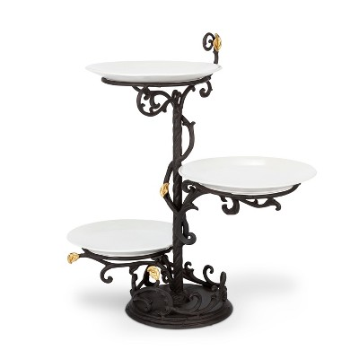 GG Collection Metal Gold Leaf 3-Tier Stand with White Stoneware Plates.