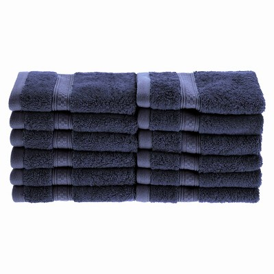 """Plush and Absorbent Rayon from Bamboo and Cotton 12-Piece 13"""" x 13"""" Face Towel Set - Blue Nile Mills"""