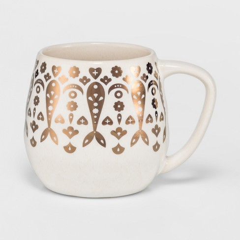 Cravings by Chrissy Teigen 18oz Stoneware Mug White/Gold Moroccan Decal - image 1 of 1