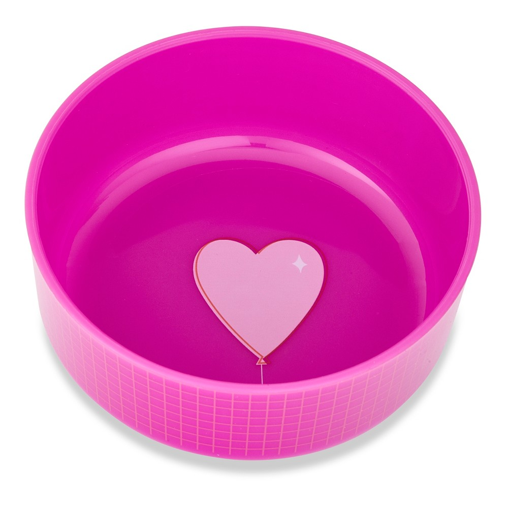 Image of Cheeky Plastic Kids Bowl With Lid 8.5oz Heart - Pink