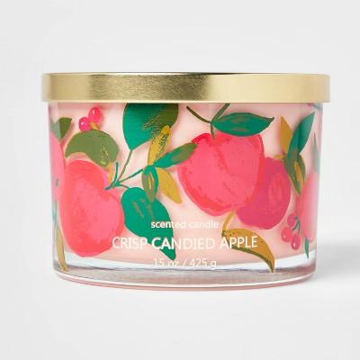 15oz Lidded Glass Jar Apple Print 3-Wick Crisp Candied Apple Candle - Opalhouse™
