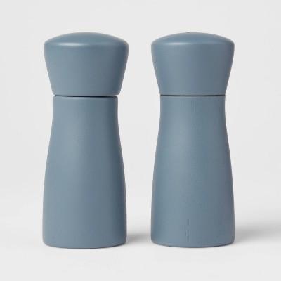 2pc Acacia Indented Salt and Pepper Grinder Set Blue - Threshold™