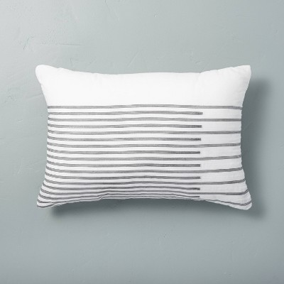"""14"""" x 20"""" Faded Stripe Throw Pillow Gray - Hearth & Hand™ with Magnolia"""