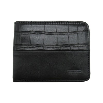 Members Only Men's 2 Tone Faux Croc RFID Protection Bifold Wallet