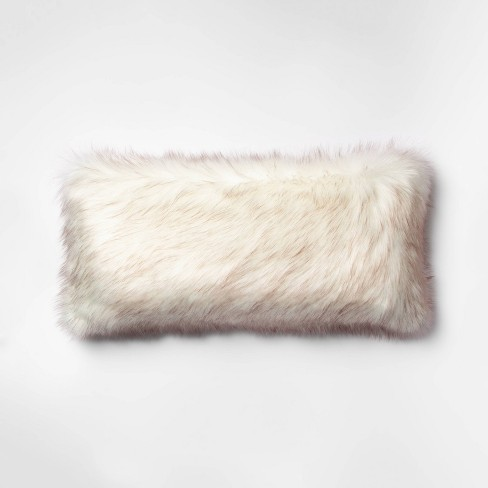 Tipped Faux Fur Oversize Lumbar Throw Pillow Cream/Brown - Threshold™ - image 1 of 4
