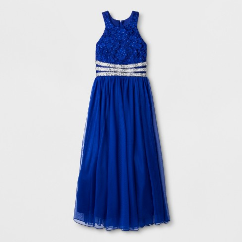 Lots of Love by Speechless Girls' Sleeveless Round Neck Maxi Dress - Blue - image 1 of 2