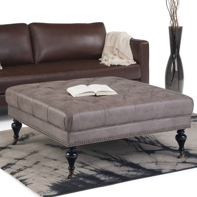 Marcel Large Square Coffee Table Ottoman   Wyndenhall