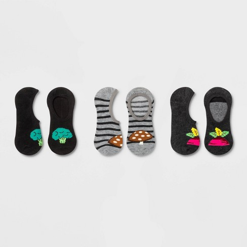 Women's Veggies 3pk Liner Socks - Xhilaration™ Gray/Black One Size - image 1 of 1