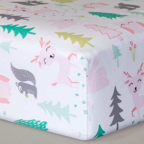 Fitted Crib Sheet Forest Frolic - Cloud Island™  Pink - image 1 of 2