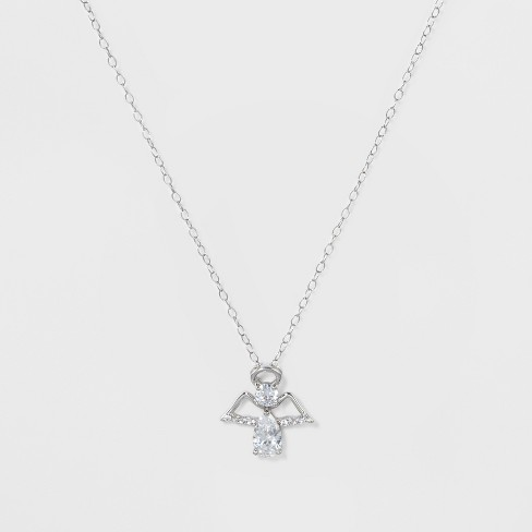 "Pendant Necklace Sterling Silver Angel with Cubic Zirconia on Cable Chain - Silver/Clear (18"") - image 1 of 2"