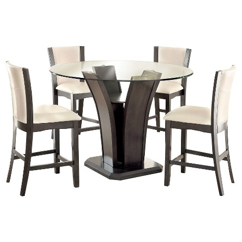 Iohomes 5pc Beveled Glass Round Counter Height Table Set Gray Target