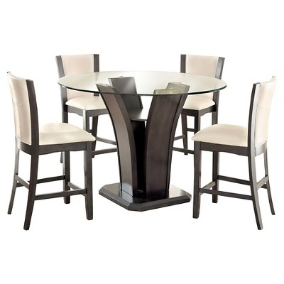 Incroyable IoHomes 5pc Beveled Glass Round Counter Height Table Set   Gray