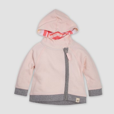 Burt's Bees Baby® Baby Girls' Organic Cotton Loose Pique Zip Overcoat Hoodie Jacket - Blossom 3-6M