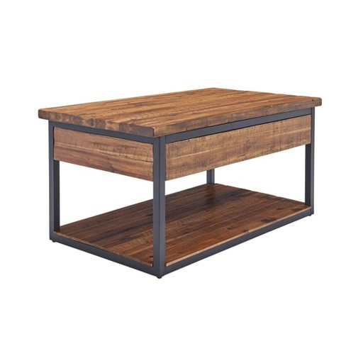 Claremont Rustic Wood Coffee Table With Low Shelf Dark Brown Alaterre Furniture Target