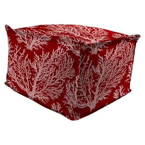 Outdoor Bean Filled Pouf/Ottoman In Seacoral Red - Jordan Manufacturing - image 1 of 3