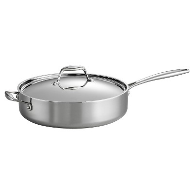 Tramontina Gourmet Tri-Ply Clad Induction-Ready Stainless Steel 5 QT. Covered Deep Saute Pan