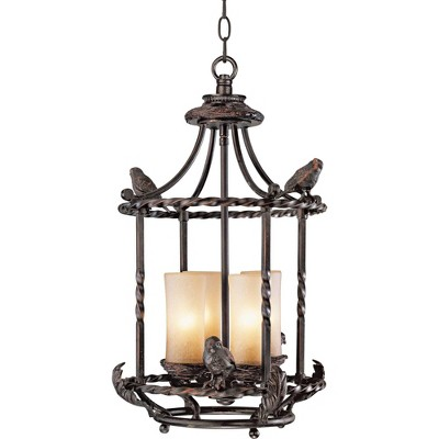 """Franklin Iron Works Wrought Bronze Pendant Chandelier 13"""" Wide Rustic Scavo Glass 4-Light Fixture Dining Room House Foyer Kitchen"""