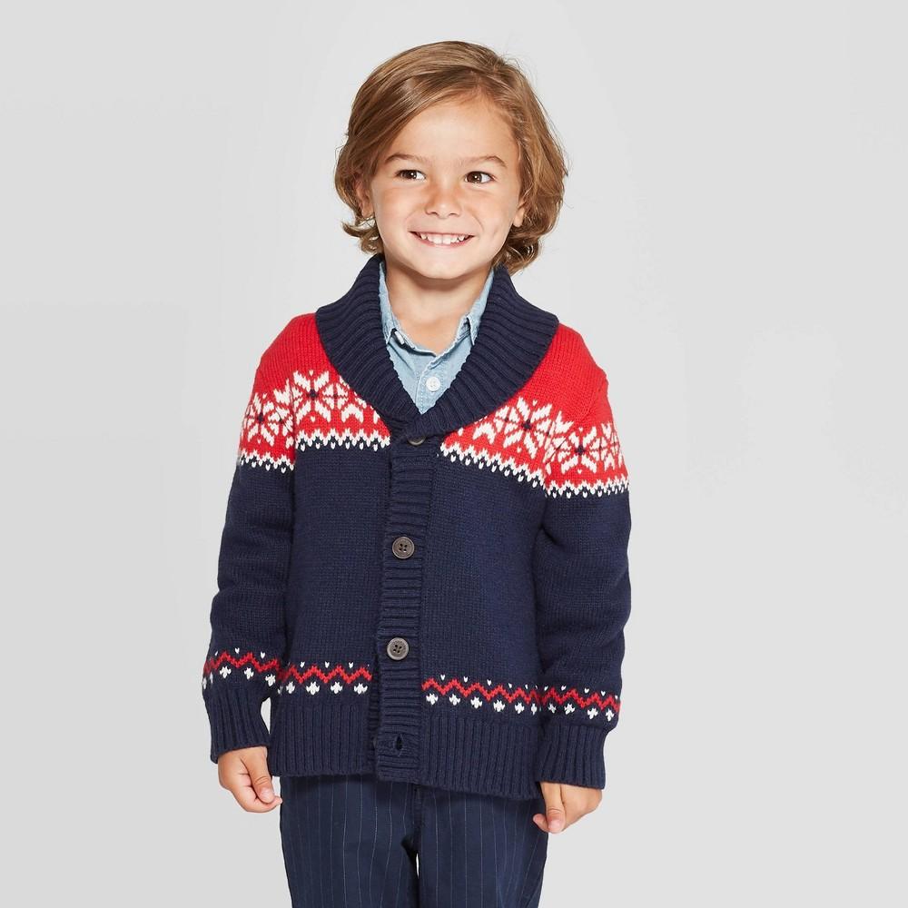 Image of OshKosh B'gosh Toddler Boys' Holiday Cardigan - Red/Navy 18M, Toddler Boy's, Red Black