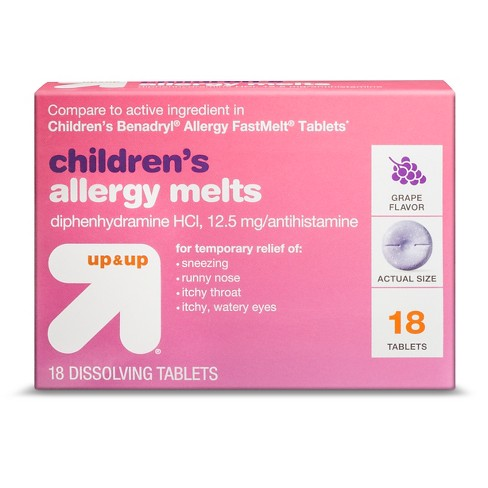 Children's Diphenhydramine Allergy Relief Tablets - Grape - (Compare to Benadryl Allergy FastMelt Tablets) - 18ct - Up&Up™ - image 1 of 1